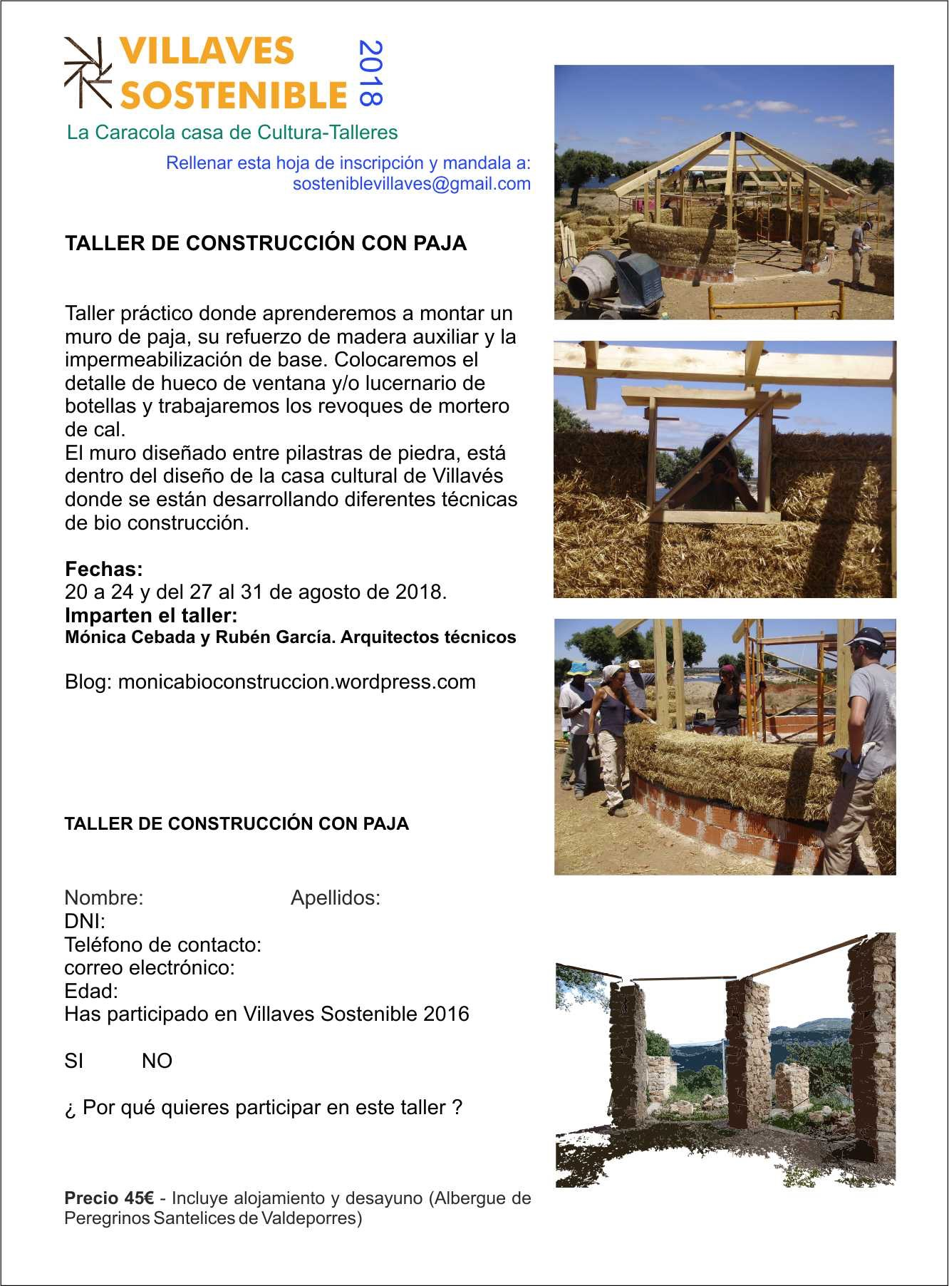 TALLER PRÁCTICO DE CONSTRUCCIÓN CON BALAS DE PAJA